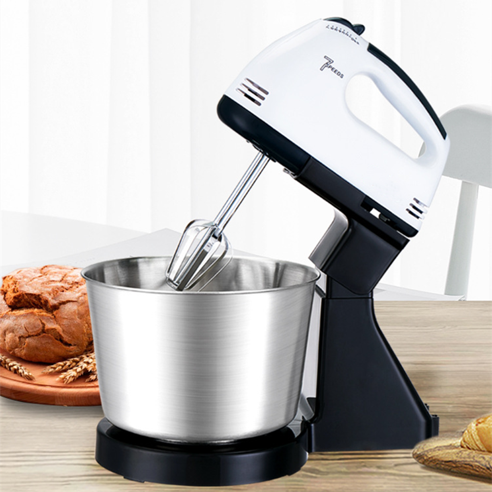 220V 7 Speed Electric Handheld Egg Beater Blender Table Stand Cake Dough Mixer Baking Whipping Cream Machine  Kitchen Appliances