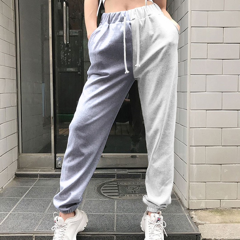 NCLAGEN Color Block Jogger Pants Women Sweat Pants High Waist Streetwear Woman Sweatpants Casual Trousers Harem Capris Sudadera