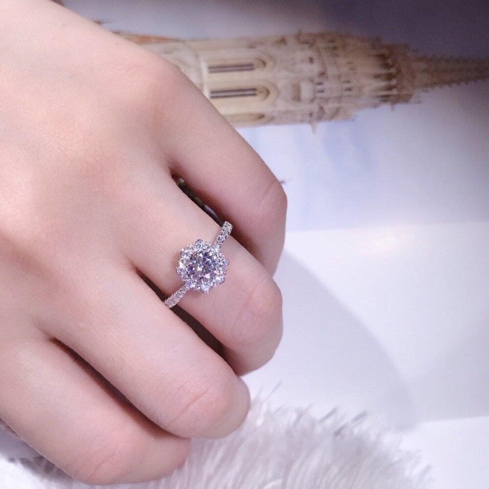 TSHOU144 роскошное женское белое свадебное обручальное кольцо Мода Стерлинговое Серебро 925 ювелирные изделия обещают CZ обручальные кольца с камнями для женщин