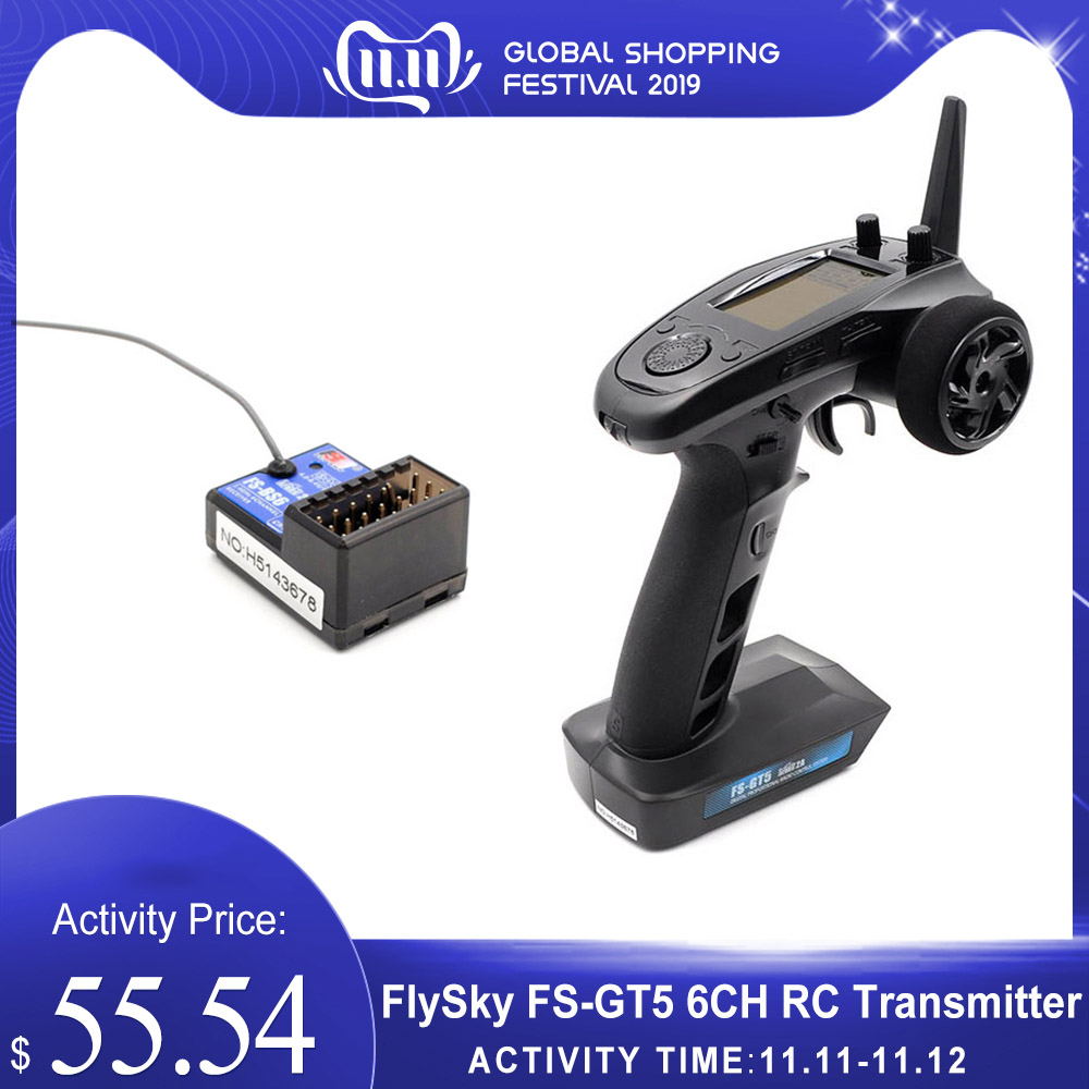 Original FlySky FS-GT5 2.4G 6CH AFHDS RC Transmitter W/ FS-BS6 Receiver For RC Car Boat RC Parts Accessories