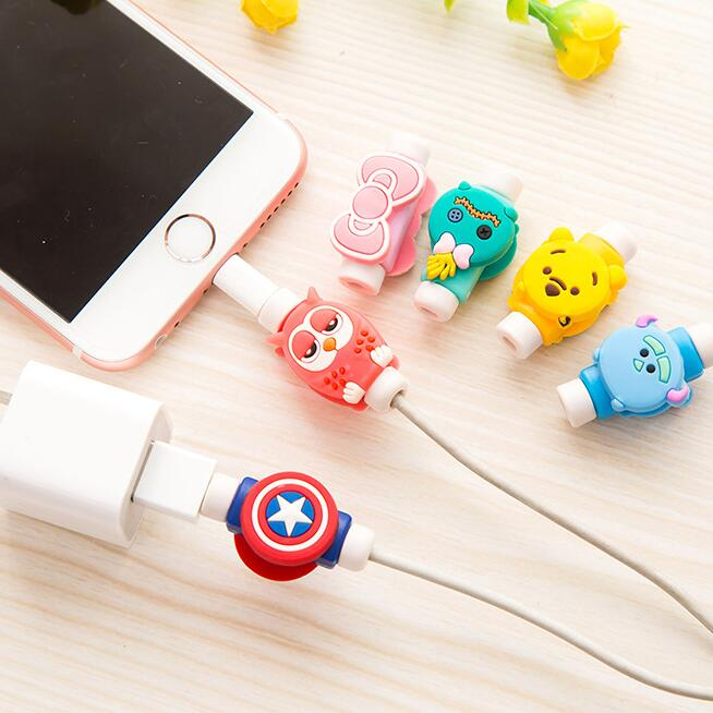 2020 Sharkbang Newest 2PCS Cartoon Animal TPU Phone USB Cable Protector Wire Clip Prevent Cable Broken