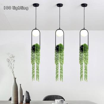 Plante artificielle LED Pendant light White glass Restaurant Bar Pendant Lamp Bedside Aisle Hanglamp Home Decoration 110-260V