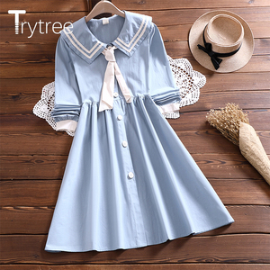 Trytree 2020 Spring Autumn Casual Women's Dress Cotton Blend Sailor Collar Tie Pleated Hem A-line Sweet Soft Shirt Dress