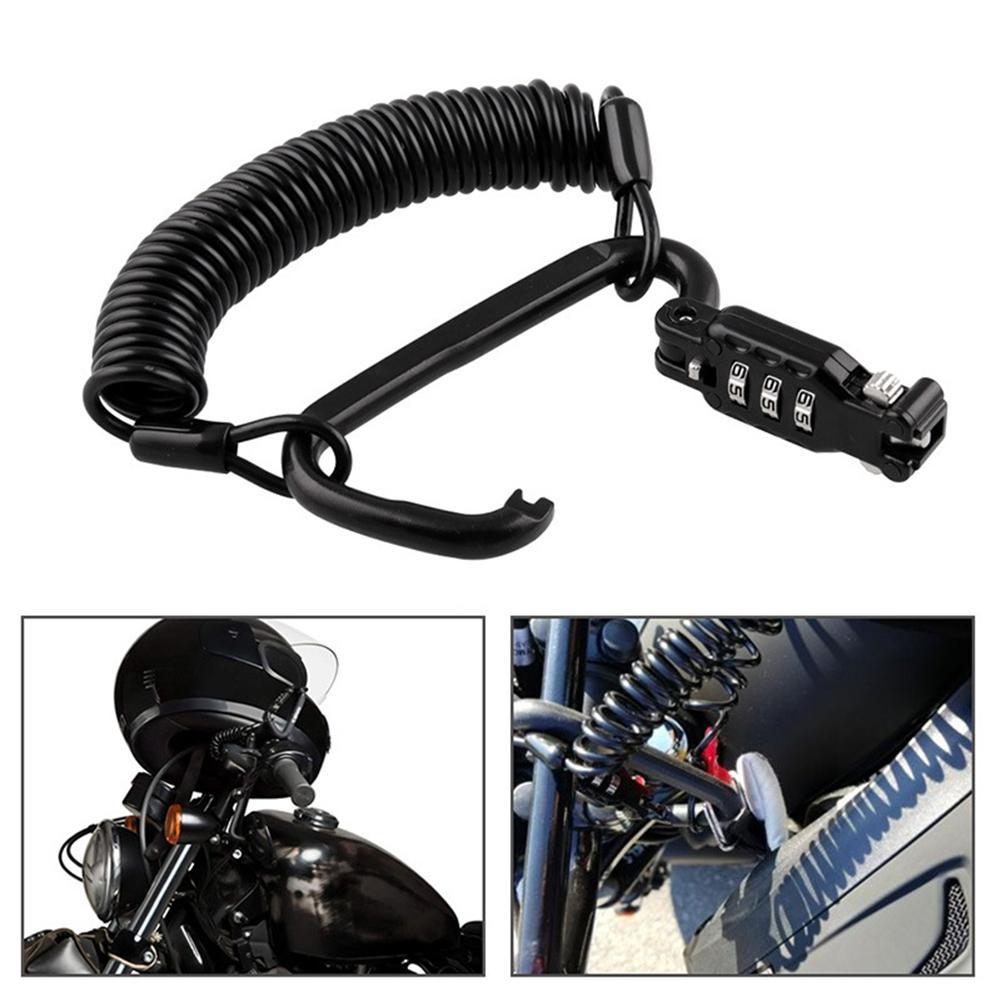 Anti-theft Motorcycle Helmet Lock With 3-digit Combination Password Lock Universal Telescopic Password Rope Lock For Motorcycle