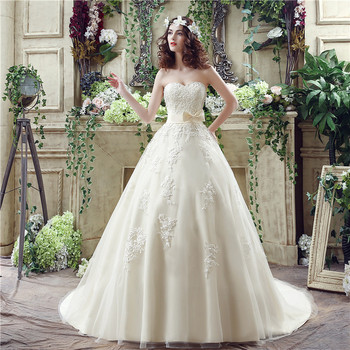 H & S mariée ivoire dentelle Appliques robes de mariée avec voile Bow bretelles robes de mariée à lacets robe mariee 2019 boho dentelle
