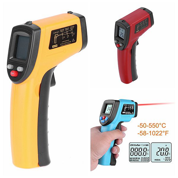 Non-Contact Digital Temperature Gun -50/°C~550/°C IR Laser Thermometer Eventek Infrared Thermometer Renewed Red//Black -58/°F~1022/°F
