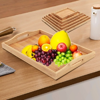 Various Size Exclusive Wood Serving Tray Food Dish Kitchen Vintage Solid Wood Platter Tea Serving Tray
