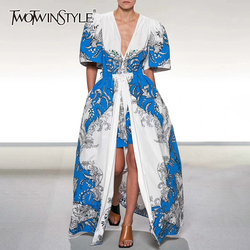 TWOTWINSTYLE Casual Print Women Two Piece Set V Neck Puff Short Sleeve Top High Waist Lace Up Split Skirt Hit Color Suit Female