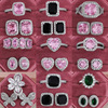 2pcs Per Pack Pink Black Green 925 Sterling Silver Jewelry Set For Wedding Women Engagement Ring Stud Earring For Party Gift Z10