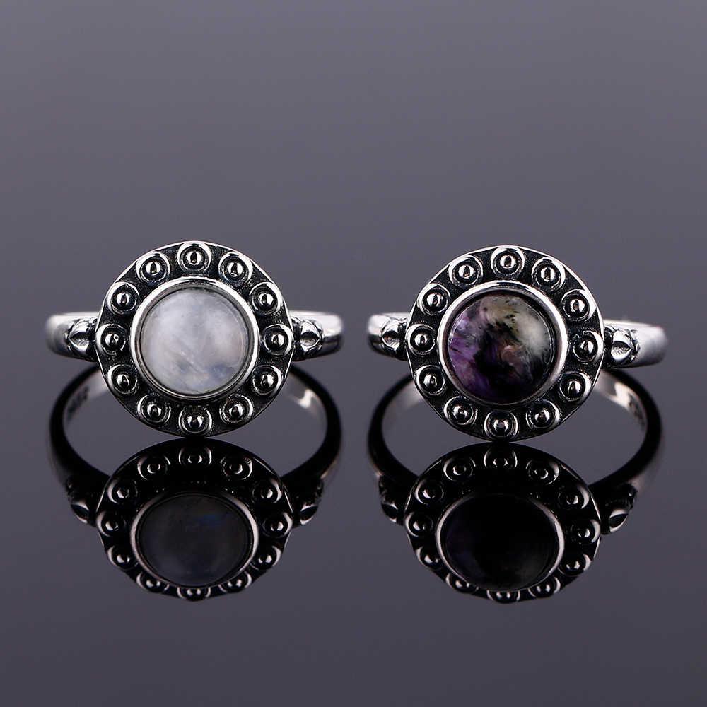 925 แหวนเงิน 7 มม.มูนสโตนธรรมชาติและธรรมชาติสีม่วงคริสตัล Retro แหวนหัวใจงานแต่งงานงานแต่งงานของขวัญ