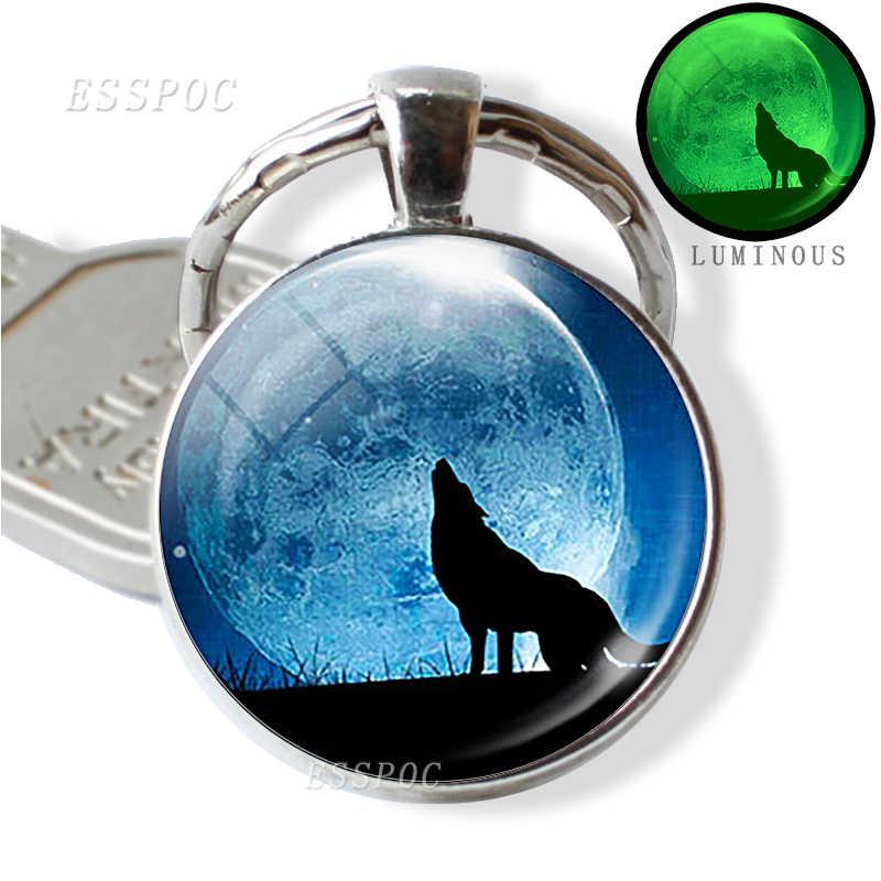 Llavero brillante en la oscuridad de lobo llavero soporte luminoso cabeza de Lobo llavero hombres joyería regalo