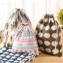 Симпатичная сумка на шнурке из хлопка и льна с принтом маленькая