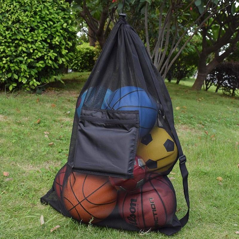 Heavy Duty Mesh Ball Bag Adjustable Sliding Drawstring Drawstring Sport Equipment Storage Bag For Basketball Soccer Sports Beach