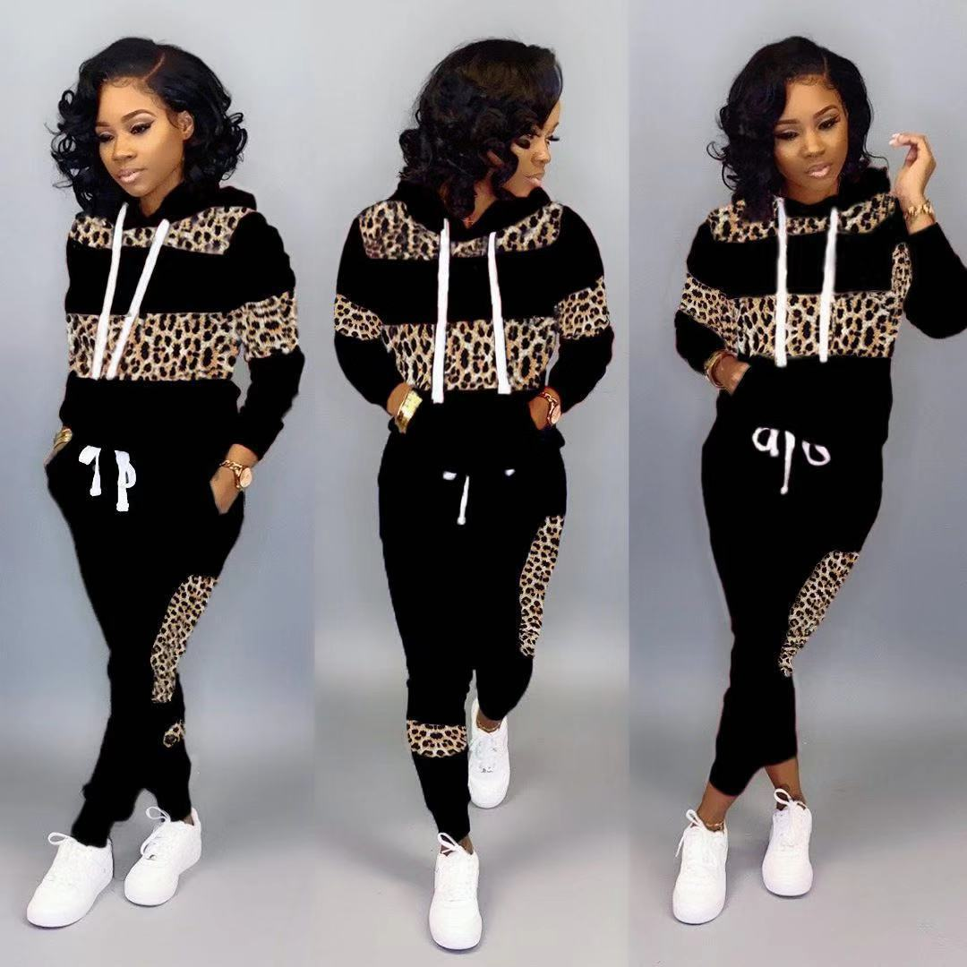 2 Piece Set Women Tracksuit Fashion Leopard Pathwork Hoodies And Long Pant Autumn Casual Ladies Two Pieces Set Jogging Suits