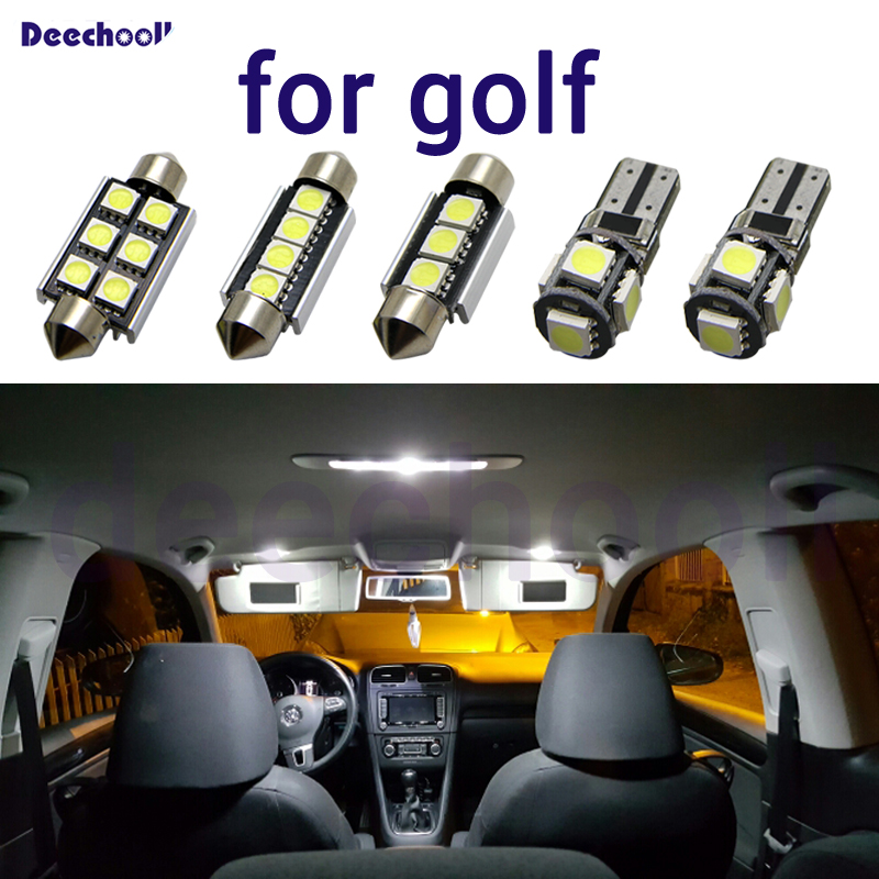 Canbus LED car license plate lamp+ interior dome map lights kit bulb for Volkwagen for VW Golf 4 5 6 7 MK4 MK5 MK6 MK7 1998-2018 image