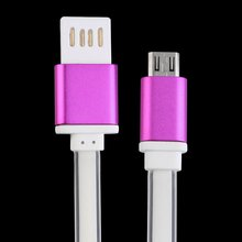 цена на 2 Connectors Micro USB Flat Noodle Charger Data Sync Cable 1M for Android Hot Selling
