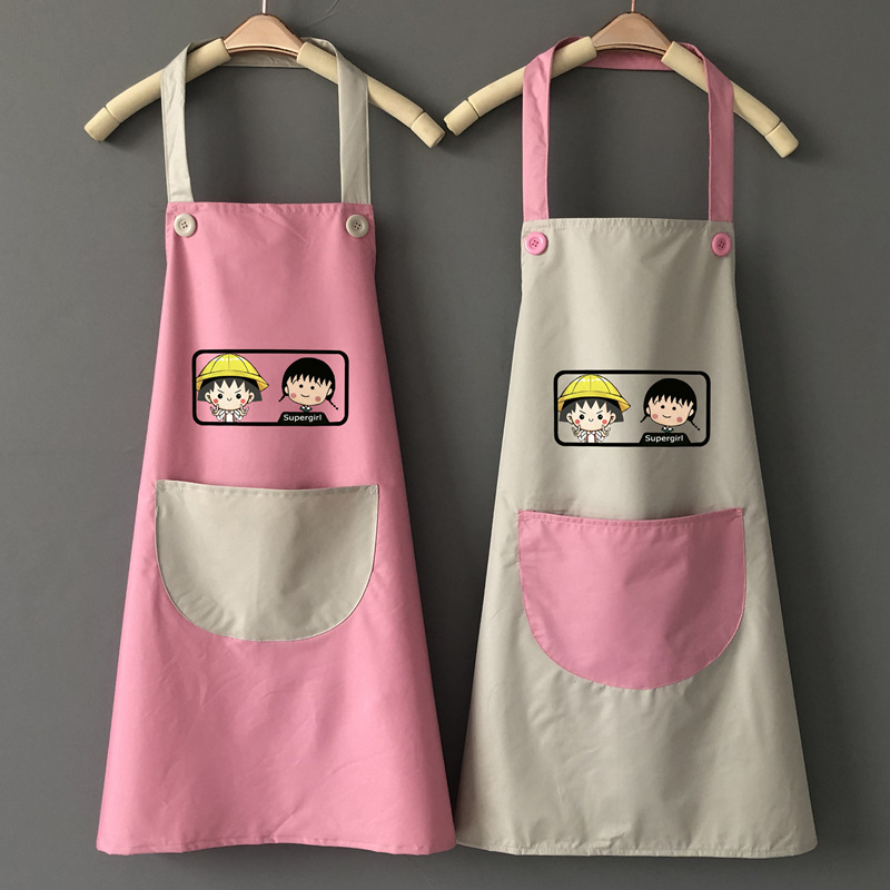 Cute Japanese style Apron Waterproof Oil Resistant Household Kitchen Cooking Household Women's Fashion Adults Work Clothes|Oversleeves| |  - title=