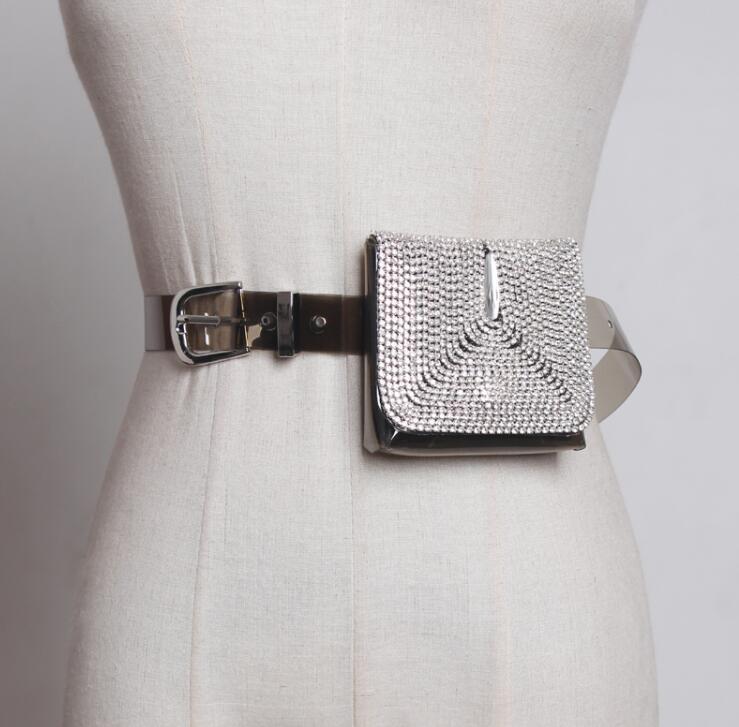 Women's Runway Fashion Blingbling Diamonds Pvc Cummerbunds Female Dress Corsets Waistband Belts Decoration Wide Belt R1885