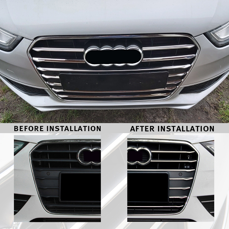 12pcs Stainless Steel Car Front Grill Grille Decorative Cover Trim Strips For Audi A4 B8 2013-2016 Car Styling Decals