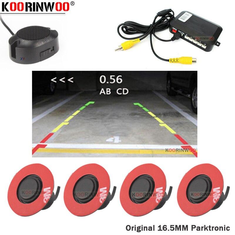 Koorinwoo Original 16.5mm Flat Rotate Parktronic Car Video Parking Sensor Reverse Radars Car Detector Assistance Video System 12
