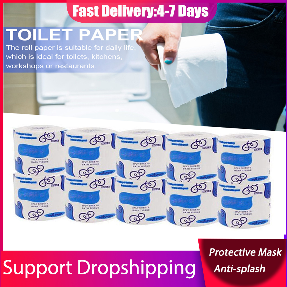 Toilet Paper 1 Rolls 3-Ply Toilet Paper Skin-friendly Tissue Paper Degradable Roll Paper Toilet Roll Paper For Household