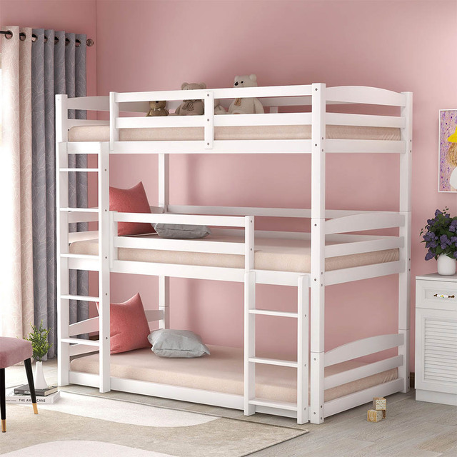 Triple Bed with Ladder  Bed Frame 1