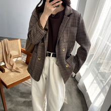 Plaid Elegant Office Ladies Women Blazer Suit  Pocket Loose Oversize Vintage Classic Tops Coat 2020 Spring Fashion Streetwear