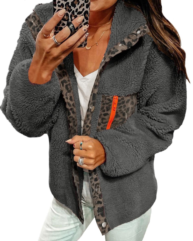 Gray Fleece   Jacket   Leopard Patchwork Casual   Basic     Jacket   Lapel Collar Pockets Punk   Jackets   Autumn Winter Streetwear Teddy Coat
