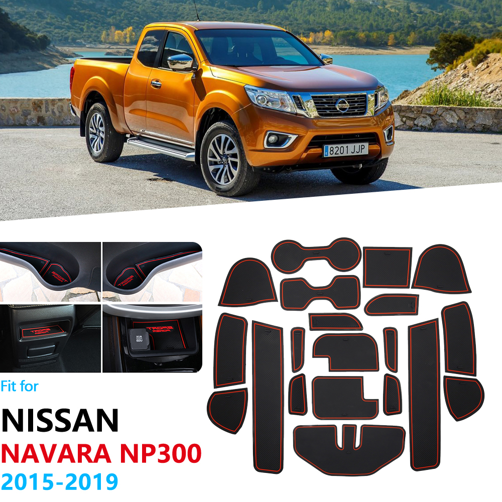 Anti-Slip Rubber Gate Slot Cup Mat For For Nissan Navara NP300 D23 2015 2016 2017 2018 2019 Accessories Car Stickers NP 300