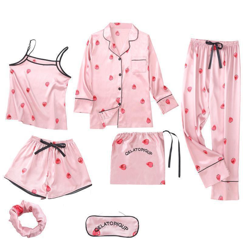 Women 7PCS Strap Top&Pants Pajamas Suit Soft Print Flower Sleepwear Nightwear Sexy Sleep Set Casual Bathrobe Lougne Home Clothes
