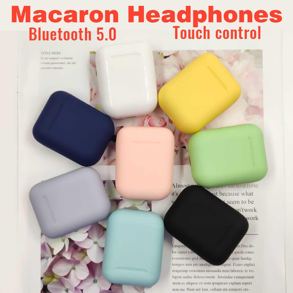 Macaron I12 Tws Wireless Earphone Bluetooth 5.0 Headphone Headset Asli Touch Pop-Up True Stereo Earbud Earpiece untuk Ponsel
