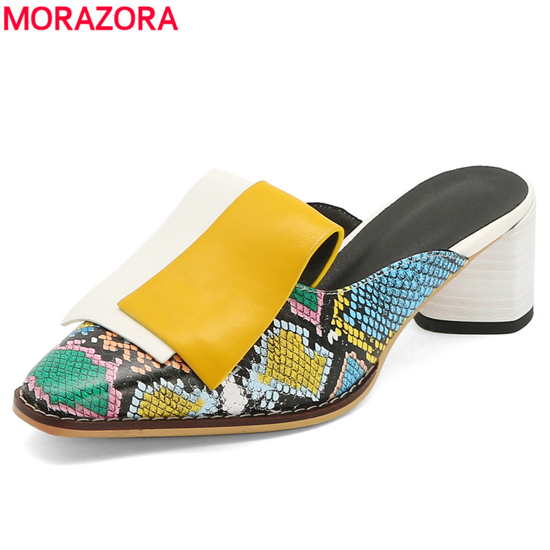 MORAZORA Size 34-42 Fashion Shoes Women Mules Square Toe High Heels Summer Shoes Women's Sandals Snake Printed Footwear Ladies