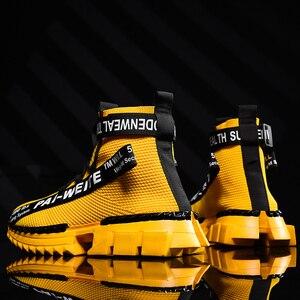 Image 1 - ファッション高トップ靴下通気性カジュアルメンズシューズ 2020 新しい男スニーカー黒と白のソフト軽量ビッグサイズzapatos hombre