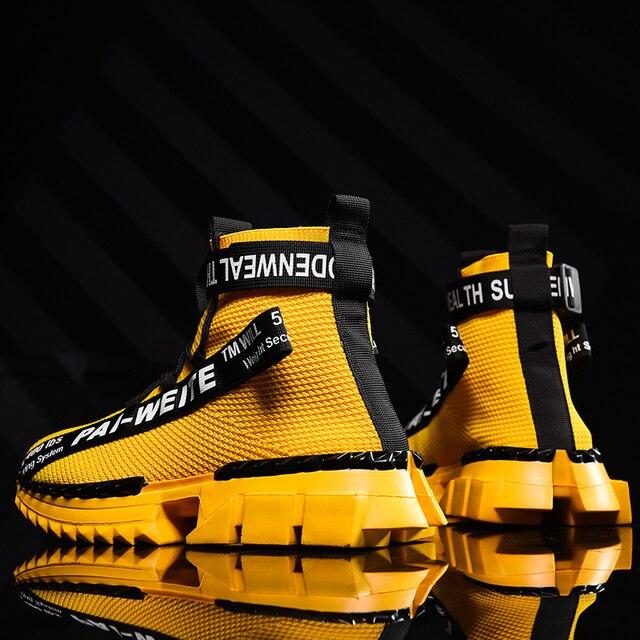 ファッション高トップ靴下通気性カジュアルメンズシューズ 2020 新しい男スニーカー黒と白のソフト軽量ビッグサイズzapatos hombre