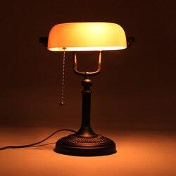 Lampe de table rétro vintage en verre ambré givré, E27, prise ue US, pour salon, chambre à coucher, bureau, bureau