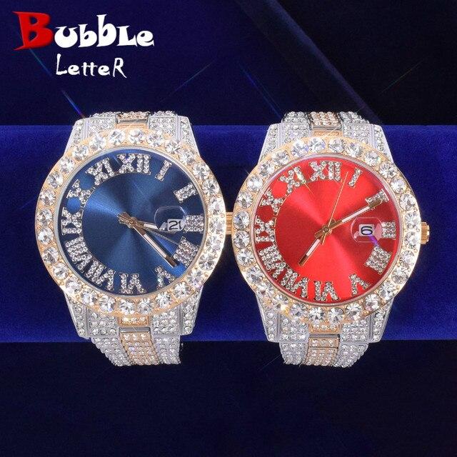 Reloj de cuarzo militar para hombre, cronógrafo con esfera roja grande, de lujo, con diamantes de imitación, de negocios, resistente al agua, Masculino 1