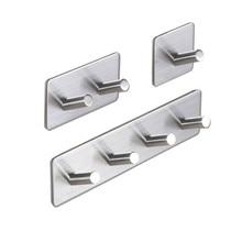 Самоклеющиеся настенные дверные задние Крючки из нержавеющей стали, вешалка для одежды, для ванной, кухни, полотенец, нержавеющий крючок