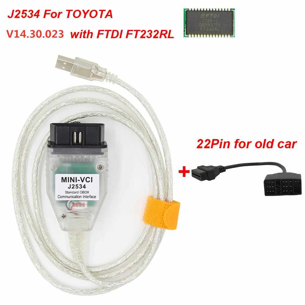 Cloverclover Mini VCI J2534 Cable de diagn/óstico para Toyota Tis Techstream FT232RL Chip esc/áner
