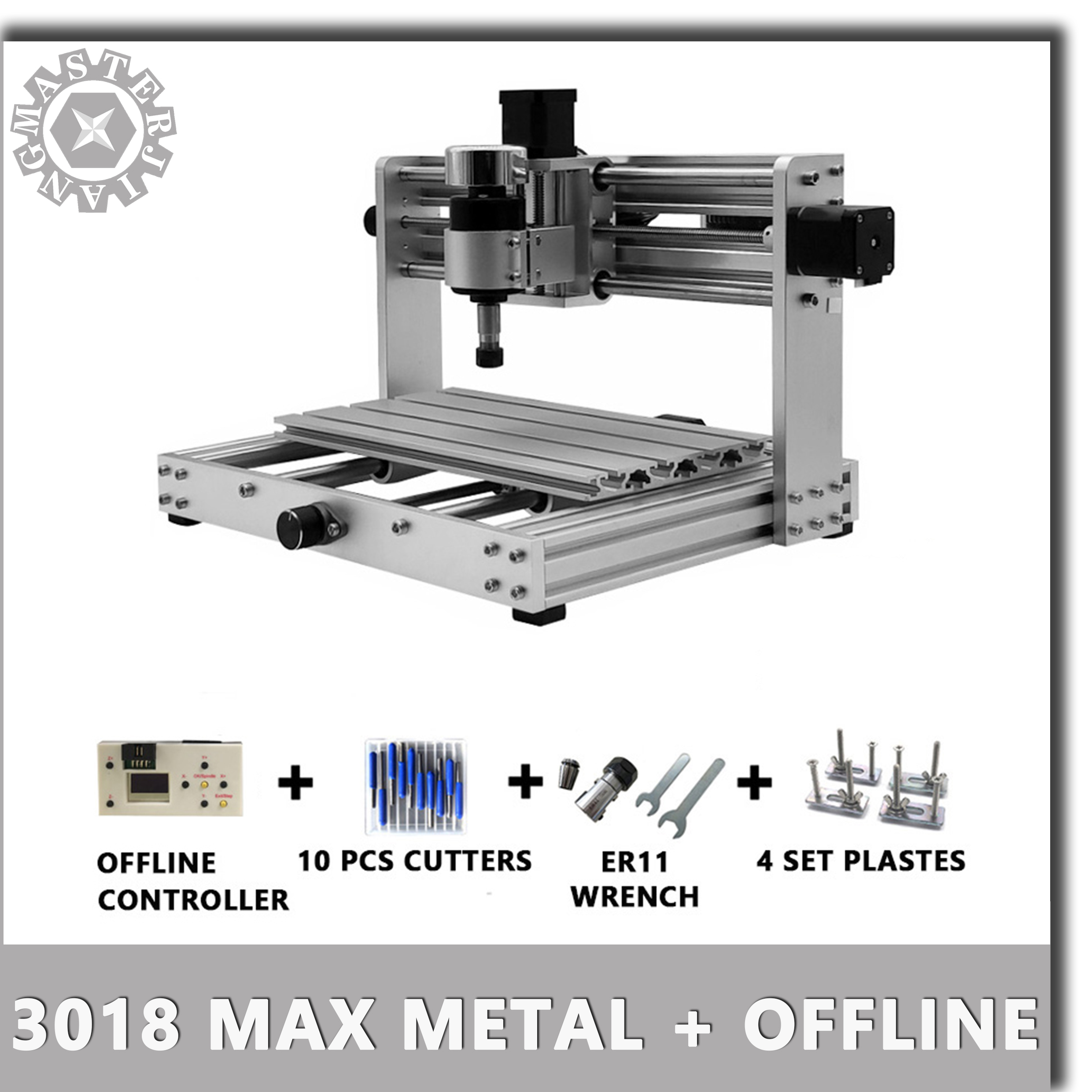 CNC 3018 Max Metal GRBL control with 200W Spindle offline control,3 Axis pcb Milling Laser machine, metal body, Diy Wood Router