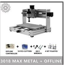 Fraiseuse CNC 3018 Max métallique, contrôle GRBL avec broche et hors ligne, machine à laser 200 W, PCB 3 axes, corps en métal et routeur en bois, bricolage
