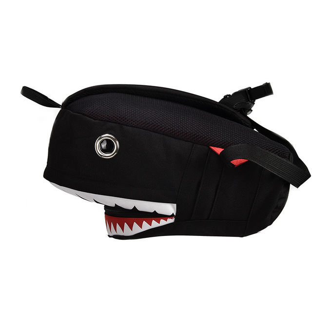 3D Shark School Bags Bags and Wallets Unisex color: big black|big gray|Purple|small balck|small gray
