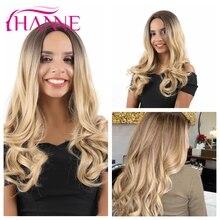HANNE Blonde Ombre Perücke Lange Wellenförmige Perücke Natürliche Cosplay Perücken für Schwarze Frauen Synthetische Perücken Haar