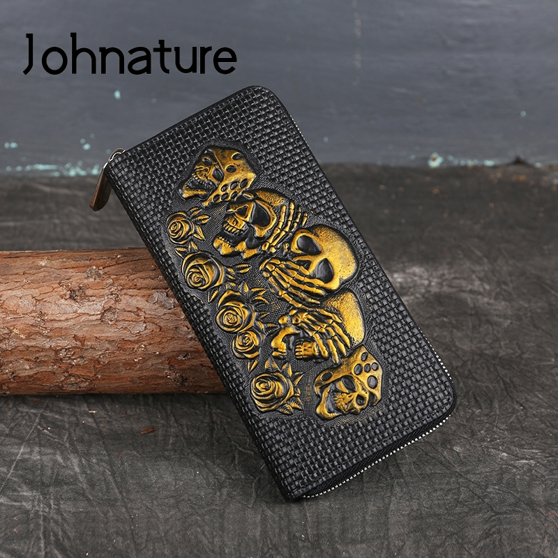 Johnature Vintage Genuine Leather Purse Women Wallets 2020 New Handmade Embossed Cowhide Ladies Clutch Bags Wallet Card Holder
