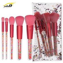 YALIAO 5pc Candy Color Makeup Brushes Crystal Foundation Blending Brush Set Tool Kit Colorful Transparent Handle With Bag