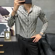 Plaid Shirt Men Clothing Office Slim-Fit Long-Sleeve Streetwear Fashion New Autumn All-Match