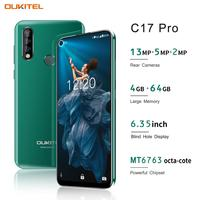 OUKITEL C17 Pro 6.35'' 19:9 4GB RAM 64GB ROM MT6763 Smartphone 13MP Fingerprint Octa Core Android 9.0 4G Mobile Phone 3900mAh