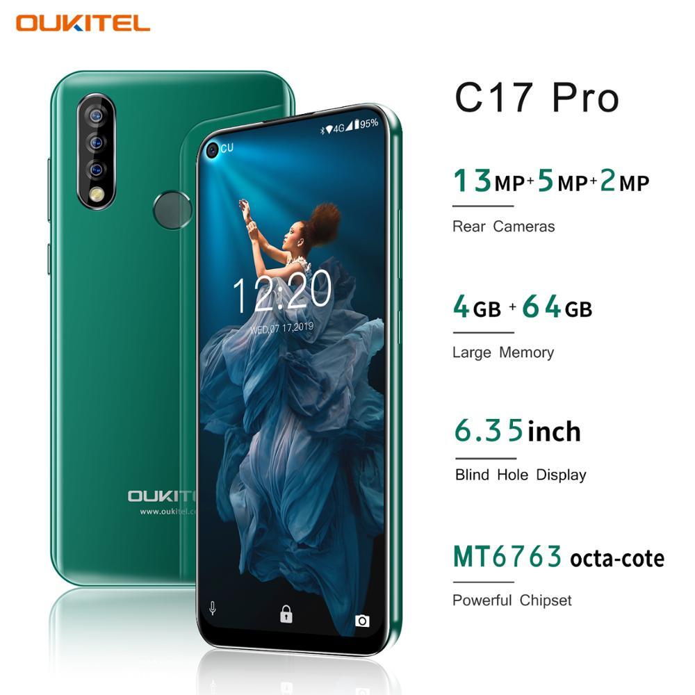OUKITEL C17 Pro 6.35 ''19:9 GB de RAM GB ROM MT6763 64 4 13MP Impressão Digital Octa Core de Smartphones Android 9.0 4G Telefone Móvel 3900mAh
