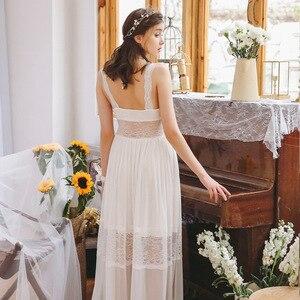 Image 5 - 2020 Hot Couple Bathrobe Female Home Robe Gown Set Bride Pajamas Transparent Kimono Sexy Cotton Nightie Lace Peignoir Sets T480