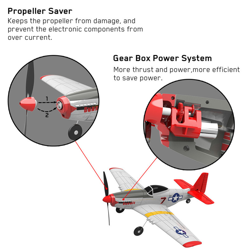 Eachine Mini P-51D EPP 400mm Wingspan 2.4G 6-Axis 14Minutes Flight Time RC Airplane Trainer Fixed Wing RTF Aircraft for Beginner