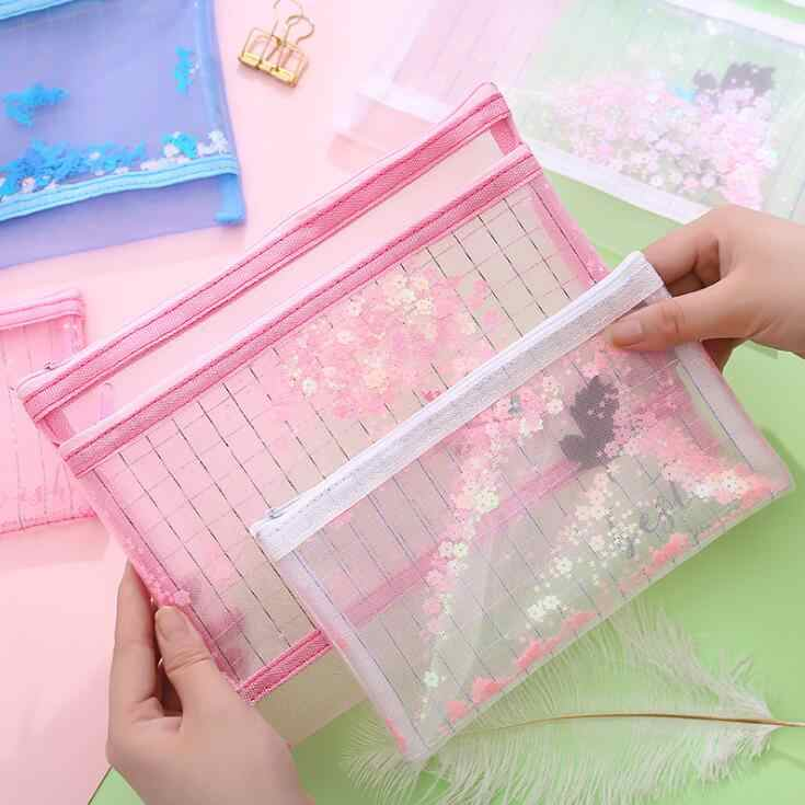 New 1PC Kawaii 2 Layers A5 B6 Bling Bling File Folder Desk  Document Paper Organizer Pencil Storage Bag Stationery